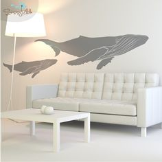 Humpback Whales Set of 2 Vinyl Wall Decals by SissyLittle
