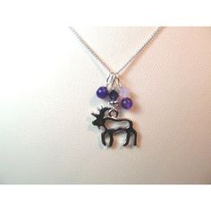 Moose Charm necklace silve tone with purple crystal and glass beads ($34) ❤ liked on Polyvore featuring jewelry, necklaces, crystal jewelry, glass bead jewelry, crystal charms, beaded jewelry and purple bead necklace