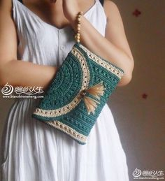 Photo by f_allahyari on March can find Crochet motif and more on our website.Photo by f_allahyari on March Crochet Clutch Bags, Bag Crochet, Crochet Handbags, Crochet Purses, Crochet Home, Filet Crochet, Crochet Motif, Crochet Crafts, Crochet Projects