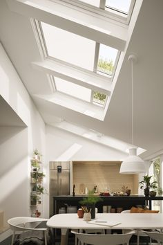 Velux roof windows in an open plan kitchen These glazing design ideas really are illuminating. Living Room And Kitchen Design, Open Plan Kitchen Living Room, Open Plan Living, Living Room Designs, Family Kitchen, House Extension Design, Roof Extension, House Design, Roof Skylight