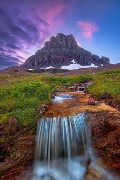 Beautiful Water fall in Glacier National Park, Montana United States - I didn't get to see the waterfall, but still.