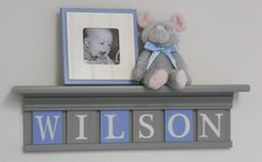 Soft Blue and Gray Baby Boy Nursery Decor 24 Shelf With 6 Letter Wooden Tiles Painted Gray and Light Blue - WILSON via Etsy