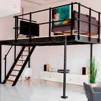Loft bed T8 with lateral stairs - Mezzaninesonline.com