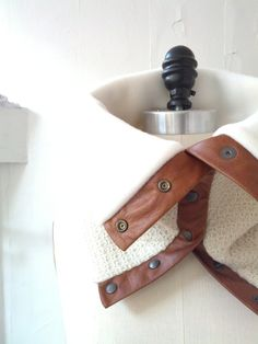 Cream wool and tan leather cowl