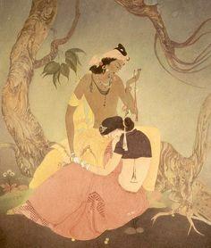 Untitled (Radha and Krishna) By Abdur Rahman Chughtai (Pakistan, 1897-1975)…