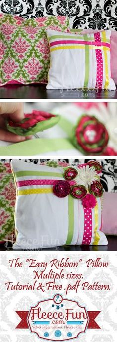 DIY PILLOWCASES: DIY Ribbon Pillow