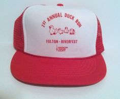 Vintage 1st Annual Duck Run Fulton NY Riverfest Red Trucker Hat Mesh Snapback 92 #Capital #Trucker Check out all of these ebay names for more amazing deals: http://www.ebay.com/usr/lostandfoundtreasuresbymedusa http://www.ebay.com/usr/medusamaire http://www.ebay.com/usr/maire1968