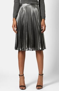 Free shipping and returns on Topshop Pleated Midi Skirt at Nordstrom.com. Accordion pleats enhance the slick, industrial aesthetic of an A-line midi skirt dusted with a luminous pewter coating.