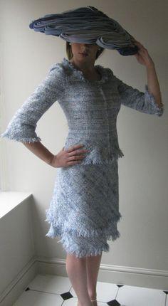 Summer blue tweed jacket and skirt with Edwina Ibbotson Hat