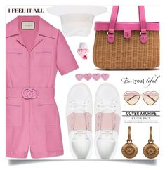 """The Last Straw: Basket Bags"" by tina-abbara ❤ liked on Polyvore featuring Gucci, Valentino, Frances Valentine, Maison Michel, Chloé and Versace"