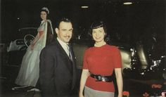 Bettie Page with Richard Arbib, American industrial designer.   Argus, Benrus, General Motors, International Nickel, Republic Aviation, Simca, Swank Jewelry, Tidewater Oil, Union Pacific, American Type Founders, and U.S. Rubber. They dated for some time in the 1950s.