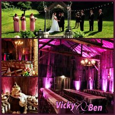 Vicky & Ben's Wedding at the Barn at Chestnut Springs in Sevierville, TN. The Blush Lighting Decor was a great way to accent the rustic feel of the venue. #uplighting #barnweddings