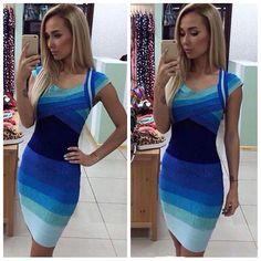 Blau Gradient Strecken Bandage Kleid Abend Cocktail Party Kleider Mode Frau UNO