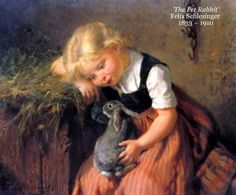 'The Pet Rabbit' Felix Schlesinger  1833 – 1910