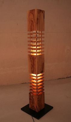 Lamp designer lamp floor lamp made of olive wood Home Lighting, Lighting Design, Box Bed Design, Wood Pendant Light, Wooden Candle Holders, Luz Led, Wooden Lamp, Modern Floor Lamps, Light Decorations