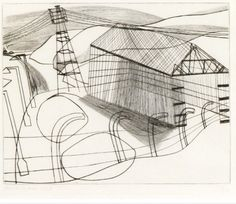 ICI shed 1948 by Ben Nicholson © Angela Verren Taunt All rights reserved, DACS/Artimage Image: © British Council Landscape Drawings, Art Drawings, Landscapes, Line Drawing, Painting & Drawing, Cubist Drawing, Urban Sketching, Beautiful Drawings, Gravure
