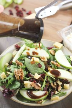 Cheddar & Apple Winter Salad with Balsamic-Feta Vinaigrette   www.bakeyourday.net