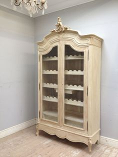 Elegant Antique French Armoire fitted out with wine racks / French furniture / painted Lime White with dark distressed wax / Frenchfinds.co.uk