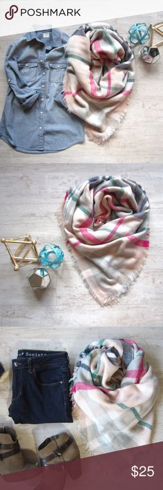 Light Pink Tartan Blanket Scarf Ladies, it's time to stock up on this season's must have blanket scarves! Bundle up in this pretty pink, gray, light green, navy & white plaid scarf. 100% acrylic. New in plastic packaging.  P.S. Blanket scarves make great Christmas gifts!   Note, I am unable to accept offers on boutique items.  Boutique Accessories Scarves & Wraps