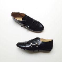 Faux Leather Monk Strap Flats Shoes