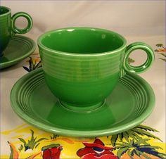 cup and saucer, fiesta ware