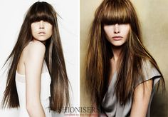 Hairstyles with Long Heavy Straight Bangs  #hairstyles #bangs #straightbangs