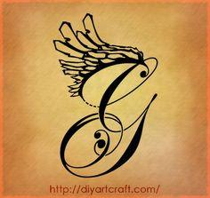 Maiuscola G Con Ali Disegno Fantasy Tattoo By Diyartcraft Com Design 419x397 Pixel