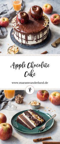 Apfel-Schokoladentorte. Schokoladiger Rührteig, getränkt mit Amaretto und gefüllt mit Zimt-Äpfeln und einer leichten Skyr-Sahne-Creme. Perfekt für den Herbst.