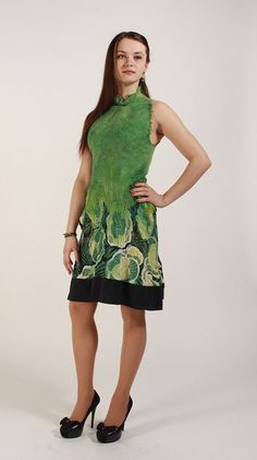 Floral pattern dress Boho bridesmaids dress Green by hedgiefelt