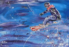 Snowboarder, Acryl auf Leinwand, Glanzfirnis, 100cm x 70cm