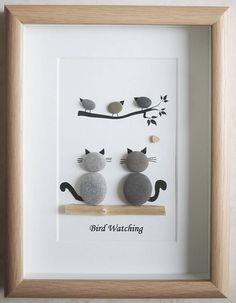 Your place to buy and sell all things handmade,This is a beautiful small Pebble Art framed Picture of 2 Cats watching Birds- Bird Watching handmade by myself using Pebbles and Driftwood Size of Pic.