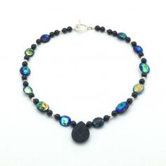 Peacock Colored Stone, Black Onyx and Sterling Silver