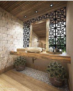 Quem disse que o rústico não pode ser chique?? Olhem esse lavabo integrado à área de lazer...By @km_arquitetura_premiere #lavabo #rustico…