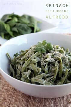 Spinach Fettuccine Alfredo - the BEST Alfredo sauce recipe you'll ever try! via Love Grows Wild