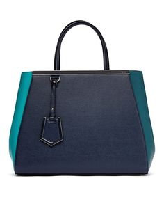 FENDI F/W '14 Lake & Ocean 2Jours Medium Leather Tote