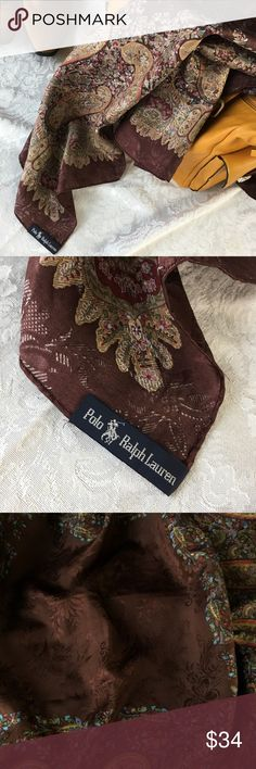 "Vintage POLO RALPH LAUREN Paisley 34"" Square Scarf Rich chocolate brown with floral damask center, hints of turquoise and rust in paisleys, and bronze highlights. Silky and simply sumptuous! Polo by Ralph Lauren Accessories Scarves & Wraps"