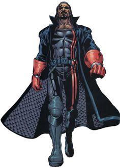shadowrun; male; human; black-skinned, dark-haired; beard; lined coat
