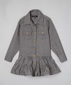 Love this Gray Polka Dot Flannel Shirt Dress - Toddler & Girls on #zulily! #zulilyfinds