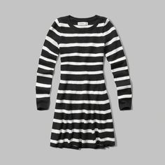 girls shine detail sweater dress | a one-piece wonder in a skater silhouette, warm sweater fabrication with shine details featuring ribbed trim | abercrombiekids.com