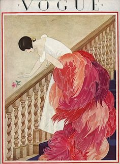 1920's Vogue illustrated cover with lady in art deco style, white dress, with amazing red, pink and orange feather cloak.
