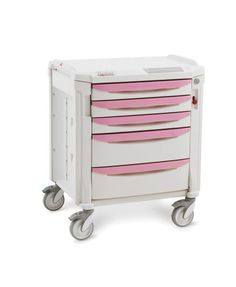 """PRETTY IN PINK""...and ready for you to dress it up! Metro's Flexline Bedside Cart stands 36"" (914mm) tall.  Corrosion-proof and easy to clean with Microban antimicrobial protection, this flexible contemporary styled cart can withstand the everyday rigors of a healthcare or laboratory environment.  Highly adaptable for many uses, this basic cart is just ""begging"" to be accessorized....perhaps a glove box holder, a drawer tray or even a waste basket....the choice is yours.  Genuine Metro…"