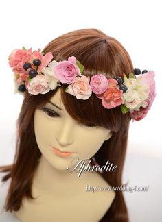 ハワイウエディング用「ピンクの花冠❤」