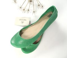 green leather flats