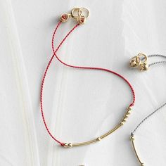 Morse Code Silk Monogram Bracelet, Red Silk Thread, Gold-Plated