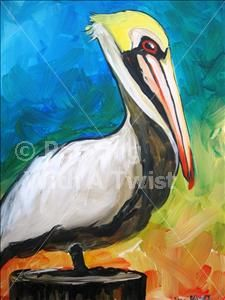 Painting with a Twist - the pelican