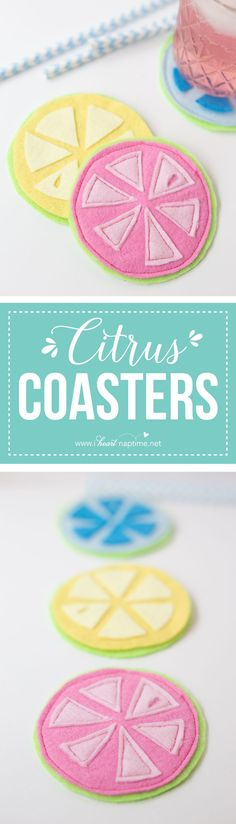 Citrus Coasters - an easy DIY to freshen up your summer table, while taking care of your ice-cold drinks!