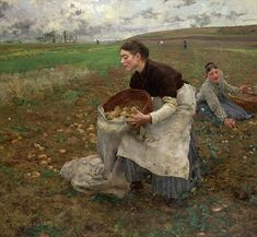 Jules Bastien-Lepage Saison d'Octobre: Recolte_des_pommes_de_terre [October: Gathering Potatoes] Oil on canvas, 1879 71 x 77 inches x cm) National Gallery of Victoria, Melbourne Beaux Arts Paris, October Art, August 2013, National Gallery, Google Art Project, Autumn Painting, Bastille, French Artists, Figure Painting