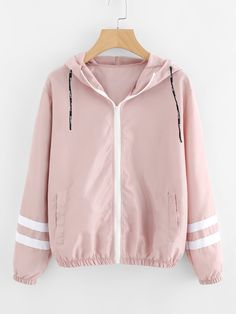 Varsity-striped Zip Up Hooded Jacket – Outfit Ideas Varsity Jacket Outfit, Windbreaker Jacket, Hooded Jacket, Bomber Jacket, Coats For Women, Jackets For Women, Clothes For Women, Teen Fashion Outfits, Winter Outfits