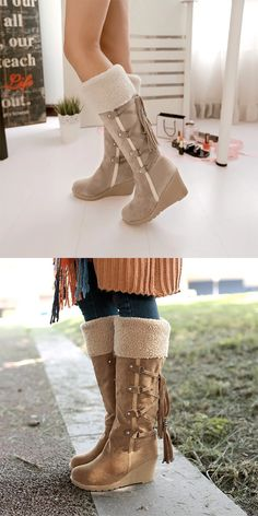 Upper Material: PU Boot Height: Knee-High Fit: Fits true to size, take your normal size Toe Shape: Round Toe Season: Winter Closure Type: Slip-On is_handmade: No Pattern Type: Solid Heel Type: Wedges Boot Type: Basic Insole Material: EVA Shaft Material: PU Outsole Material: Rubber Fashion Element: Rome Lining Material: Short Plush Heel Height: Med (3cm-5cm) Model Number: women boots With Platforms: Yes Platform Height: 0-3cm model: 13.74 m153095