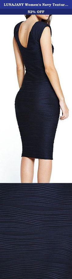 """LUNAJANY Women's Navy Textured Sleeveless Bodycon Dress. Product details: Pattern Type: Textured, Sleeve Length: Sleeveless,Color:Deep Blue,Dresses Length:Midi, Knee-Length,Style:Party,Office,Silhouette:Bodycon Model is 5'6""""tall,34""""bust,28""""waist,37""""hip,132 lbs.weight and wears a size S ."""